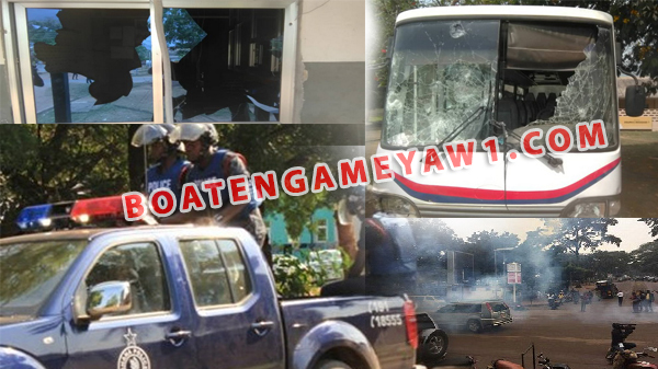 UEW in chaos! Gunshots, teargas fired as Police clash with protesting students